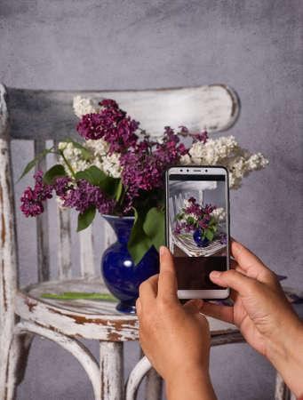 photographer, blogging workshop concept. hand holding phone and taking photo of stylish flower Standard-Bild