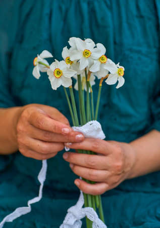 Woman holding bouquet of white daffodils in his hahd