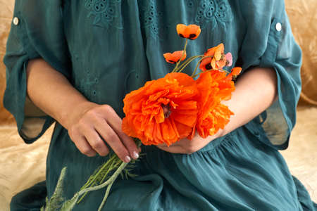 Woman in green dress holding poppe flowers, close up on her hands. Spring time dreams. Standard-Bild