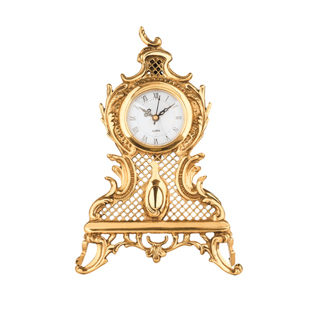 isolated bronze old-fashioned clock with clipping path