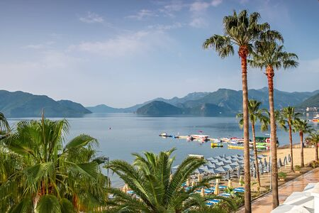 The beach and the bay of Marmaris, Turkey.