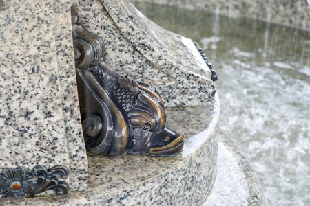 Bronze image of a fish, detail of a fountain close-up.