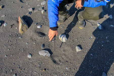 The Arctic, a member of the scientific biological expedition, shows the track of the polar bear on the small pebbles in the rays of the setting sun.
