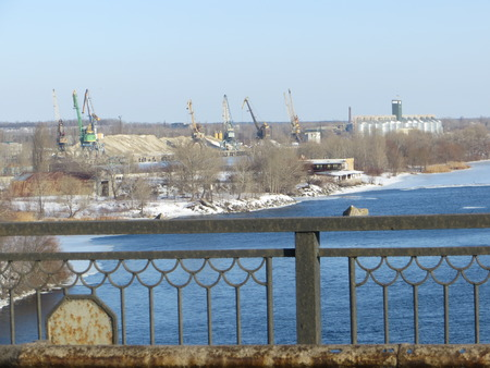 commercial docks: Cranes in the port