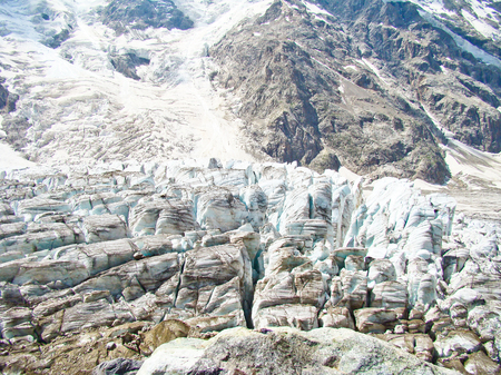 crack climbing: seracs in Caucasian mountains