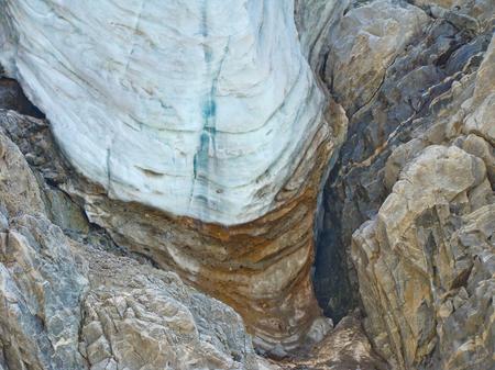 crevasse: seracs in Caucasian mountains