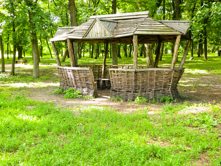 gazebo: Old wooden gazebo in a green park