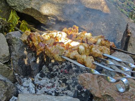 shashlik: Preparing meat shish kebab (shashlik) on skewers