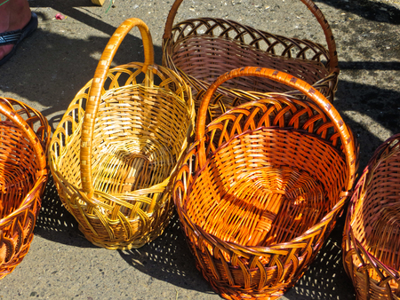 Traditional wicker baskets sailing on a fair