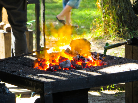 forge: glowing embers on a forge Stock Photo