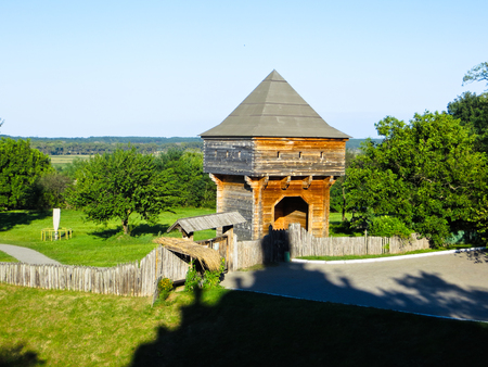 watchtower: Old wooden watchtower in village Subotiv, Ukraine Stock Photo