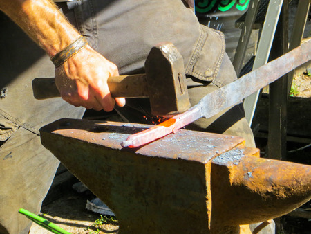 forging: forging iron on anvil