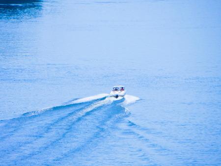motorboat: Motorboat on a river