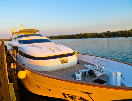 dnieper: Modern river yacht moored on a river Dnieper Stock Photo