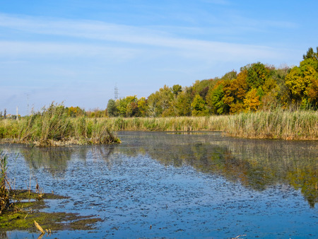 Beautiful lake and the blue sky on autumn