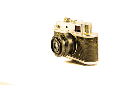 Old soviet rangefinder camera isolated on a white background Stock Photo