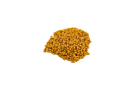 caloric: Pile of the buckwheat seeds isolated on white background Stock Photo