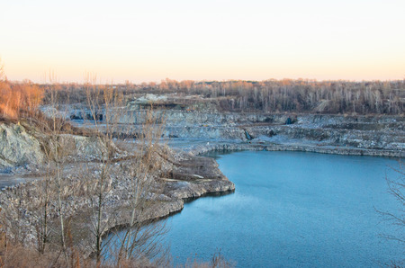 View on a lake in a granite quarry