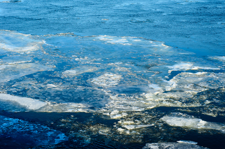 hoarfrost: Drifting ice floes on a river Dnieper in Kremenchug, Ukraine Stock Photo