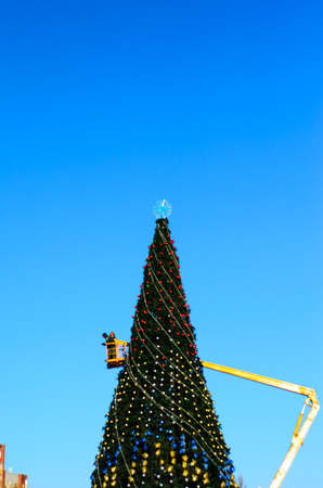 central square: Dressing christmas tree on a central square of Kremenchug, Ukraine