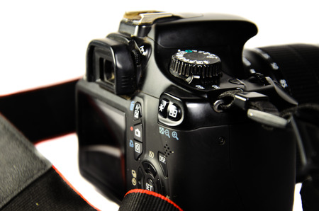Detail view of the modern DSLR camera