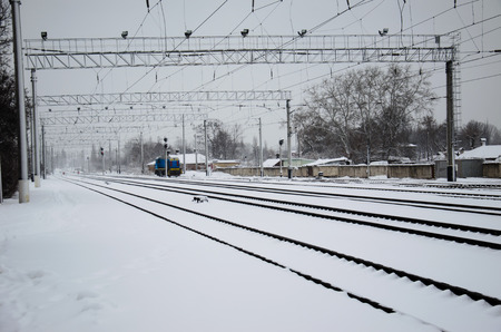 diverge: View on a railroad tracks on winter