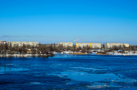 Drifting ice floes on a river Dnieper in Kremenchug, Ukraine Stock Photo