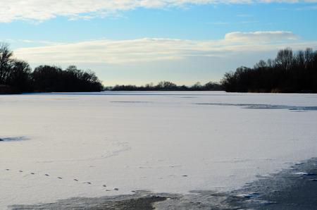 frozen river: Frozen river Dnieper in city Kremenchug, Ukraine