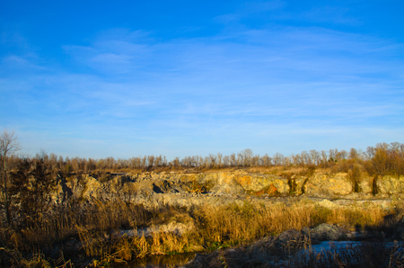 pit fall: Beautiful view on a granite quarry, Kremenchug, Ukraine Stock Photo
