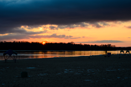Beautiful winter sunset on a river Dnieper Stock Photo