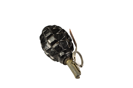 Black hand grenade isolated on a white background