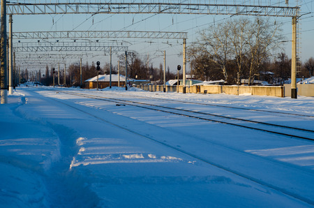 View on a railroad tracks on winter
