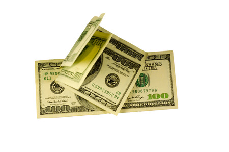One hundred dollars bills isolated on a white background
