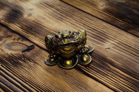 Chinese lucky toad on a wooden background