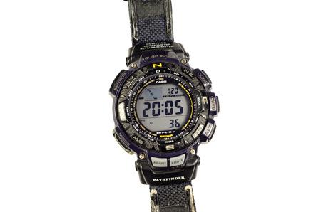Kremenchug, Ukraine - January 20, 2017: Modern sport watch Casio protek with triple sensor isolated on a white background