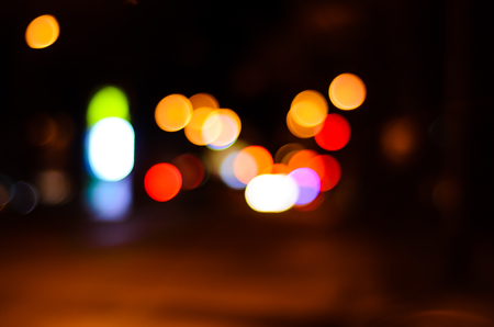 lighting background: Abstract and blurred background of the car lights Stock Photo