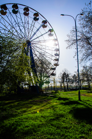 Ferris wheel in city park. Kremenchug, Ukraine