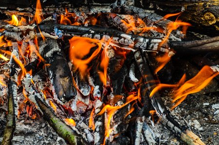 outdoor fireplace: Close-up photo of the camp fire in forest Stock Photo