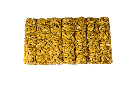 sunflower seeds: Brittles with sunflower seeds isolated on a white background Stock Photo
