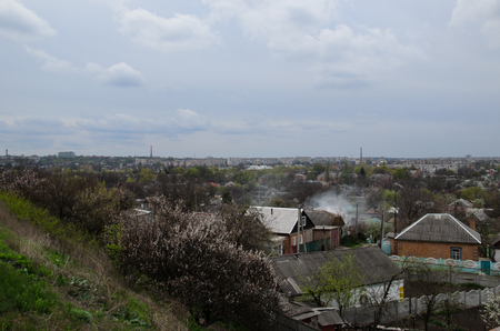 overcast: View on a town Alexandria in Ukraine on cloudy day