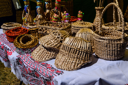 Different wicker products for sale on a peasant fair