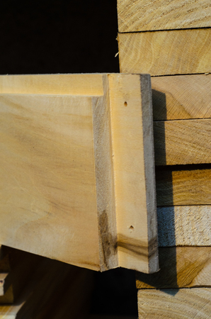 apiculture: Wooden planks for the new beehives. Woodworking Stock Photo