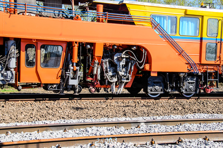 Maintenance train near the new railroad track
