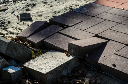 concrete commercial block: Construction of a new pavement of paving slabs