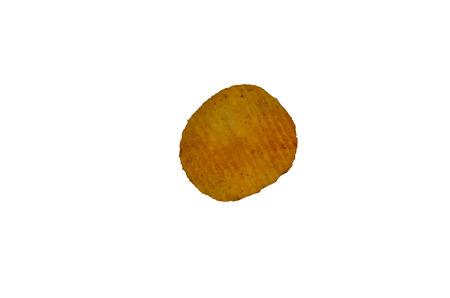 junk: Single potato chips isolated on white background Stock Photo