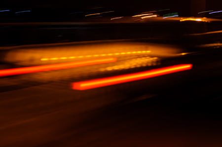 moving truck: Trails of the car lights on night road Stock Photo