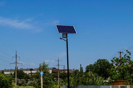 voltaic: Solar panel on a top of  the pillar