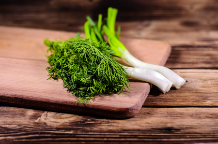 Fresh green dill and onion on wooden cutting board