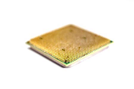transistor: Procesador de computadora aislado en un fondo blanco Foto de archivo