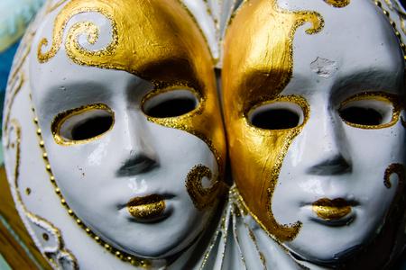 Gypsum sculpture of the two venecian masks